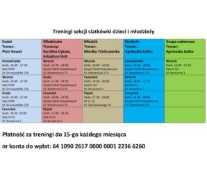 UWAGA !!!!!! Zmiana harmonogramu treningów siatkówki dzieci i młodzieży
