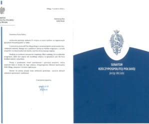 Podziękowania od Senatora RP Jerzego Wcisła